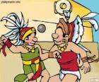 Mecz był rytuał Majów, gracze walczą o piłkę przez pierścień z kamienia