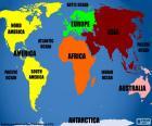 Mapa świata z kontynentów i oceanów