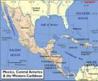 Mapa Meksyku i Ameryki Środkowej. Ameryka Środkowa, subkontynencie łączący Ameryka Północna i Ameryka Południowa
