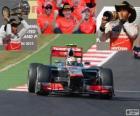 Lewis Hamilton świętuje swoje zwycięstwo w Grand Prix USA 2012