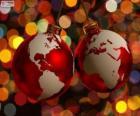 Bombki zdobione mapa świata