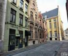 Domy szeregowe na ulicy w mieście lub miasta