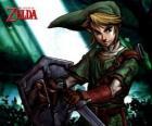 Link z mieczem i tarczą w przygody The Legend of Zelda gier wideo