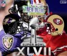 Super Bowl 2013. San Francisco 49ers vs Baltimore Ravens. Superdome, Nowym Orleanie