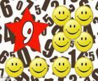Numer 9 w star dziewięć uśmiechy i uśmiechy