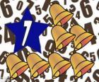 Liczba 7 wewnątrz gwiazdy z siedem dzwonki