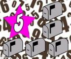 Numer 5 w star pięć skrzynek pocztowych