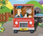 Listonosz Pat z jego Kot Jess w dystrybucji poczty