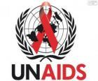 UNAIDS logo. Wspólny Program Narodów Zjednoczonych ds. HIV / AIDS