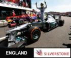 Nico Rosberg świętuje swoje zwycięstwo w Grand Prix Wielkiej Brytanii w roku 2013
