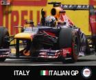 Sebastian Vettel świętuje swoje zwycięstwo w Grand Prix Włoch 2013