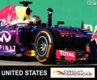 Sebastian Vettel świętuje swoje zwycięstwo w Grand Prix Stanów Zjednoczonych 2013