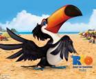 Spokojny i mądry tukan Rafael, jeden z bohaterów tego filmu Rio