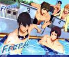 Pięciu bohaterów Free! Rin, Haruka, Nagisa, Rei i Makoto