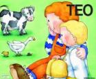 Teo i jego siostra Klara ze zwierzętami