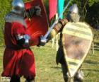 Dwóch żołnierzy walczących z miecze i tarcze