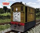 Tobik to brązowa lokomotywa tramwajowa nr. 7