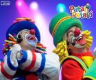 Patati i Patata w wykonaniu w wydajności, dwóch bardzo zabawnych klaunów