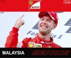 Sebastian Vettel świętuje swoje zwycięstwo w Grand Prix Malezji 2015