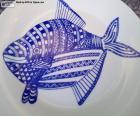 Danie udekorowane niebieski ryb