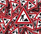 Pionowe znaki robót drogowych