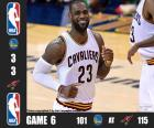 2016 NBA Finals, 6 mecz, Golden State Warriors 101 - Cleveland Cavaliers 115