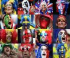 Twarze fanów niektórych państw uczestniczących w UEFA Euro 2016 we Francji