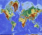 Mapa świata z ulgą głębokość