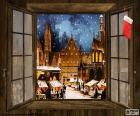 Otwarcie okna widzimy piękne Bożonarodzeniowe targi