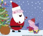 Peppa Pig i George rozmawia z Papa Noel, w Boże Narodzenie