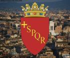 Herb miasta Rzym jest Gotycka tarcza fioletowy, z greckiego krzyża i inicjały SPQR łacińskiego wyrażenia Senatvs Popvlvs Romanvs Qve