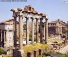 Obraz z Forum Romanum, obszar, gdzie były instytucje rządowe, rynku i religii starożytnego miasta Rzym, Włochy