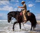 Kowboj na koniu przez morze