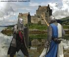 Dwóch rycerzy walczących w bitwie
