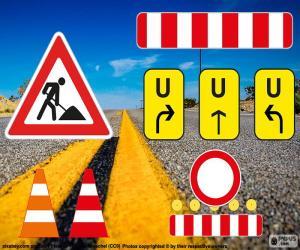 Układanka Roboty drogowe znaki