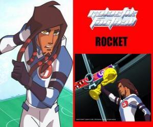 Układanka Rocket jest kapitanem drużyny piłkarskiej Galactic Snow-Kids z numerem 5