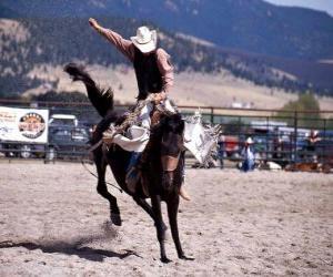 Układanka Rodeo - Jeździec w siodle konkurencji bronc, miłośników dzikiego konia