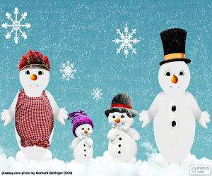 Układanka Rodzina snowmen