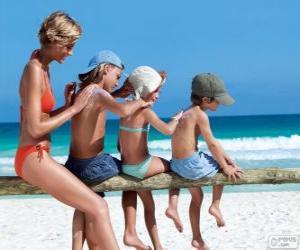 Układanka Rodzina stosowania ochrony przeciwsłonecznej