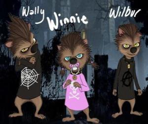 Układanka Rodzina Wilkołak. Szczenięta: Wally, Winnie i Willbur