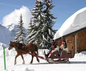 Układanka Rodziny w saniach ciągniętych przez konia na Boże Narodzenie