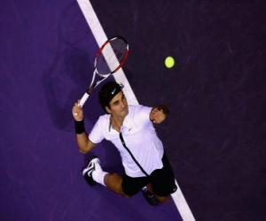 Układanka Roger Federer przygotowując się do uderzenia służyć