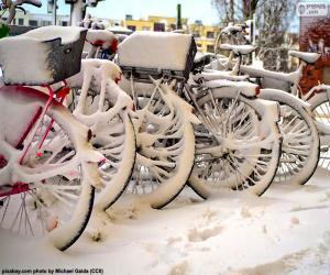 Układanka Rowery w zimie