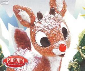 Układanka Rudolph, małego renifera z czerwonym nosem