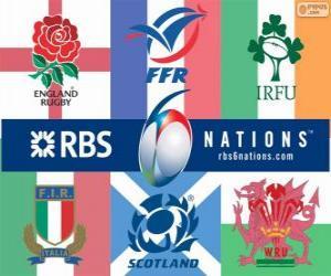 Układanka Rugby Puchar Sześciu Narodów z uczestników: Francji, Szkocji, Anglii, Walii, Irlandii i Włoch