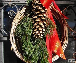 Układanka Rustykalne Boże Narodzenie wieniec