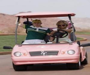 Układanka Ryan Evans (Lucas Grabeel), Sharpay Evans (Ashley Tisdale) w samochodzie golf