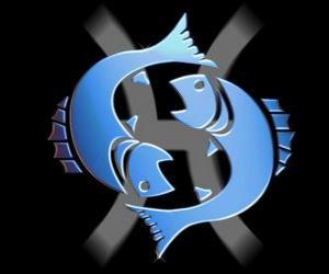 Układanka Ryb. Dwunasty znak zodiaku. Łacińska nazwa jest Pisces