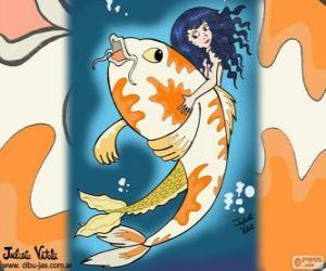Układanka Ryby i syrenka, rysunek Julia