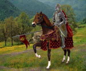Układanka Rycerz z kask i pancerzy i jego spear gotowy montowane na swoim koniem